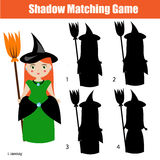 Shadow matching game, halloween theme with witch character. Shadow matching game for children. Find the right, correct shadow task for kids preschool and school Royalty Free Stock Images
