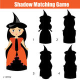 Shadow matching game, halloween theme with witch character. Shadow matching game for children. Find the right, correct shadow task for kids preschool and school Stock Photo