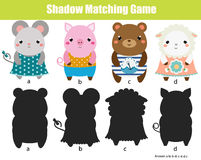 Shadow matching game. Kids activity. Animals theme. Shadow matching game for children. Find the right shadow. Activity for preschool kids. Cute animals Stock Image