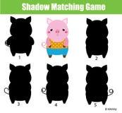 Shadow matching game. Kids activity. Animals theme Stock Photos