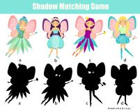 Shadow matching game. Kids activity with beautiful fairy. Shadow matching game for children. Find the right shadow. Activity for preschool kids with beautiful Stock Photo