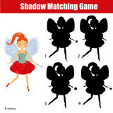 Shadow matching game. Kids activity with beautiful fairy. Shadow matching game for children. Find the right shadow. Activity for preschool kids with beautiful Stock Photography