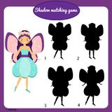 Shadow matching game. Kids activity with beautiful fairy. Shadow matching game for children. Find the right shadow. Activity for preschool kids with beautiful Stock Image