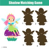 Shadow matching game. Kids activity with beautiful forest fairy. Shadow matching game for children. Find the right shadow. Activity for preschool kids with stock illustration