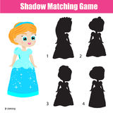 Shadow matching game. Kids activity with beautiful princess Stock Photos