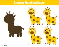 Shadow matching game. Kids activity with cartoon giraffe. Shadow matching game for children. Find the right shadow for cartoon giraffe. Activity for preschool Stock Image