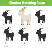 Shadow matching game. Kids activity with cartoon goat. Shadow matching game for children. Find the right shadow for cartoon goat. Activity for preschool kids and Stock Images