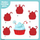 Shadow matching game. Kids activity with creamy cupcake. Christmas, new Year theme. Shadow matching game for children. Find the right shadow. Kids activity with Stock Photo