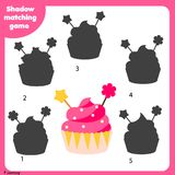 Shadow matching game. Kids activity with cupcake. Shadow matching game for children. Find the right shadow. Activity for preschool kids with cupcake Stock Photo