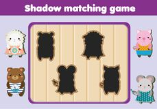 Shadow matching game. Kids activity with cute animals. Shadow matching game for children. Find the right shadow. Kids activity with cute animals Stock Image
