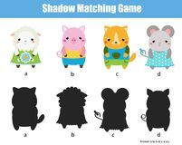 Shadow matching game. Kids activity with cute animals. Shadow matching game for children. Find the right shadow. Kids activity with cute animals Royalty Free Stock Photos