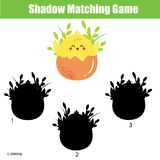 Shadow matching game. Kids activity with cute chicken. Shadow matching game for children. Find the right shadow for chicken. Activity for preschool kids and Stock Photography
