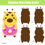 Shadow matching game. Kids activity with cute giraffe. Shadow matching game for children. Find the right shadow for giraffe. Activity for preschool kids and Stock Photo
