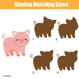 Shadow matching game. Kids activity with cute pig
