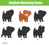 Shadow matching game. Kids activity with cute puppy dog. Shadow matching game for children. Find the right shadow for puppy dog. Activity for preschool kids and Stock Photo