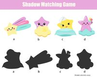 Shadow matching game. Kids activity with cute stars characters. Shadow matching game for children. Find the right shadow. Kids activity with cute star characters Stock Photography