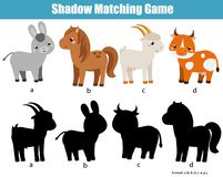 Shadow matching game. Kids activity with farm animals. fun page for toddlers