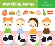 Shadow matching game. Kids activity with food. Put meal into plates. Shadow matching game for children. Find the right shadow. Kids activity with food. Put meal Royalty Free Stock Photo