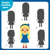 Shadow matching game. Kids activity with girl. Shadow matching game for children. Find the right shadow. Activity for preschool kids with beautiful girl Royalty Free Stock Images