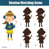 Shadow matching game. Kids activity with girl holding candy canes. Christmas, new Year theme. Shadow matching game for children. Find the right shadow. Kids Royalty Free Illustration