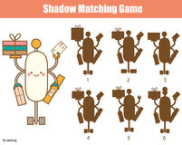 Shadow matching game. Kids activity with robot Royalty Free Stock Images