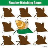 Shadow matching game. Kids activity with snail. Animals theme. Shadow matching game for children. Find the right shadow. Activity for preschool kids with snail Royalty Free Stock Photography