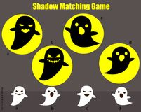 Shadow matching game. Kids activity with spooky ghosts. Halloween theme. Shadow matching game for children. Find the right shadow. Activity for preschool kids Royalty Free Stock Photo