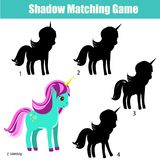 Shadow matching game. Kids activity with unicorn. Shadow matching game for children. Find the correct shadow for unicorn. Activity for preschool kids and Stock Images
