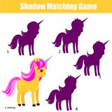 Shadow matching game. Kids activity with unicorn. Shadow matching game for children. Find the correct shadow for unicorn. Activity for preschool kids and Royalty Free Stock Images
