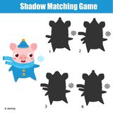Shadow matching game. Kids activity with winter pig Vector Illustration