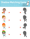 Shadow Matching Game for kids, Visual game for kid. Connect the dots picture,Education Vector Illustration.  Royalty Free Illustration