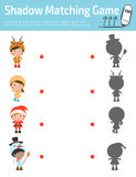 Shadow Matching Game for kids, Visual game for kid. Connect the dots picture,Education Vector Illustration. stylish children Chris. Tmas Costumes , happy new Stock Image