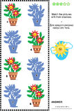 Shadow matching game with potted flowers Royalty Free Stock Photography