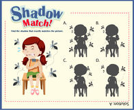 Shadow matching game template with girls and mosquitos Stock Photos