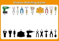 Shadow matching game Tools to Repair , activity page for kids. Find the right, correct shadow task for kids preschool. Kindergarten worksheets to help children Royalty Free Stock Images