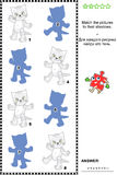 Shadow matching game with toy kittens. Visual puzzle or shadow matching game: Match the kittens to the shadows. Answer included Stock Photography