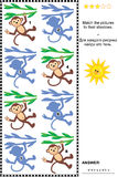 Shadow matching game with toy monkeys. Visual puzzle or picture riddle: Match monkeys hanging on liana to their shadows. Answer included Royalty Free Stock Images