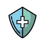 Shadow medical shield cartoon. Shadow blue medical shield cartoon vector graphic design Stock Photo