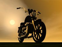 Motobike sunset - 3D render Stock Photography