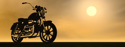 Motobike sunset - 3D render Royalty Free Stock Image