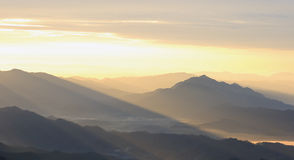 Shadow mountain in evening after sunset Royalty Free Stock Photography