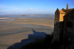 Shadow of Mt St Michael, Normandy, France Stock Photos