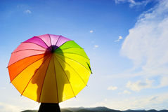 Shadow multicolor umbrella woman Royalty Free Stock Photo