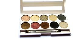 Shadow palette for makeup with mirror stock photography