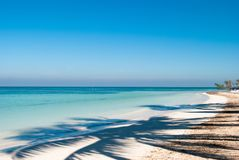 Shadow of palm on the beach of Cayo Jutias in Cuba. Boat and blu Stock Photography