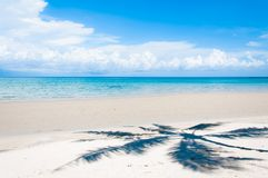 Shadow of palm tree over tropical white sand beach. Thailand Royalty Free Stock Image