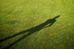 Shadow on a perfectly-mown meadow Stock Photography