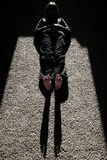 Shadow of Person Lying on Floow with Sunlight legs feet Royalty Free Stock Photo