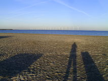 Shadow Photographer Beach Windmills Royalty Free Stock Image