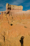 Shadow of photographer in Bryce Canyon, Utah Royalty Free Stock Photos
